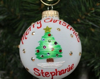 Handpainted Personalized Ornament Christmas tree with Swarovski Rhinestones for the lights in the tree -  Made to Order