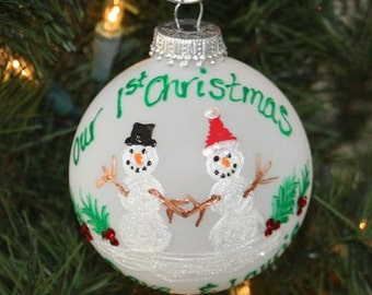 First Christmas Together Snowman Personalized Ornament - Handpainted and Made to Order