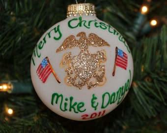 US Navy Ornaments with two American Flags - Handpainted Personalized and Made to Order