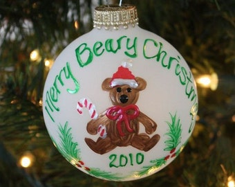 Handpainted Merry Christmas Bear Personalized Ornament with Holly and Berries made with Swarovski Rhinestones  - Made to Order