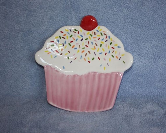 Handpainted Ceramic Festive Strawberry Cupcake Dish with Sprinkles and a Cherry on top