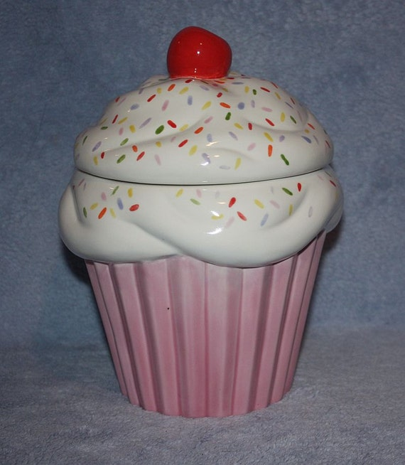 Handpainted Festive Large Sprinkled Cupcake Cookie Jar, pink on the bottom with white frosting, sprinkles & cherry on top