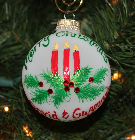 Christmas candles ornament handpainted and personalized with for Christmas candles and ornaments