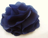oversized navy blue flower pin or hairclip