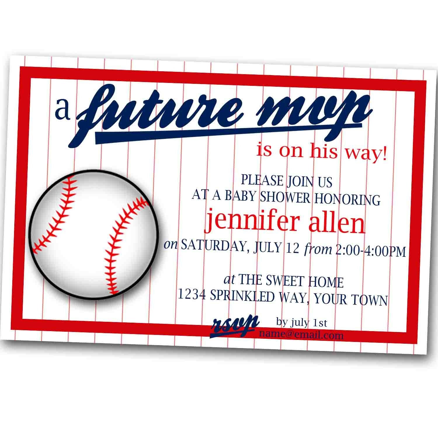 baseball baby shower invitation digital copy on etsy