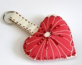 beautiful heart keychain of vintage silk and beads