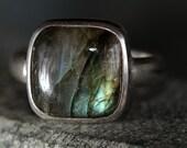 Cushion-shaped labradorite ring