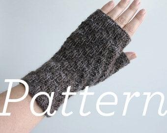 Knit Gloves Pattern // Herringbone Rib Fingerless Gloves  - pattern only - PDF