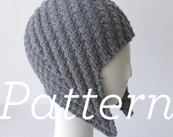 Knit Hat Pattern // Herringbone Rib Aviator Hat - pattern only - PDF