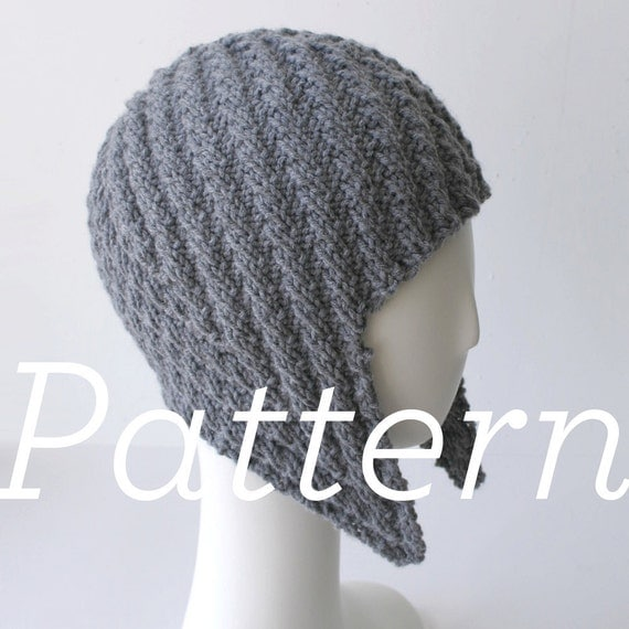 Herringbone Stitch Knit Hat Pattern : Knit Hat Pattern // Herringbone Rib Aviator Hat pattern only