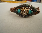 3 Dimensional Magen David( Star of David) Gold & Leather Bracelet