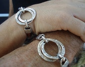 2 Sterling Silver Interlocking Hand Engraved Rings Bracelet