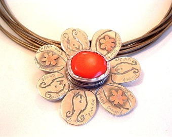 Silver Flower Pendant, with Coral and Gold, Hand Engraved In Hebrew With Biblical Text