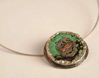 Turquoise, Silver  & Gold Fish Pendant