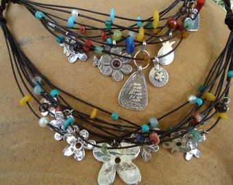 Sterling Silver Charms Necklaces With Colorfull Stones On Leather Strands