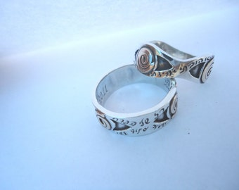 Silver Ring With Gold Ornament And Engraved Blessings.