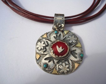 "Silver And Gold Pendant With Coral And Turquoise ""For Everything There Is A Season"""