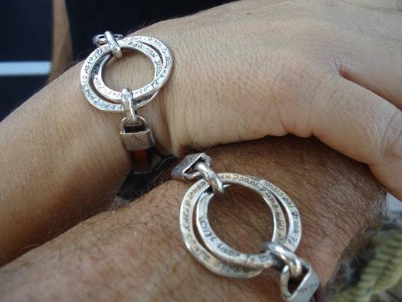 2 Sterling Silver Interlocking Hand Engraved Rings Bracelet