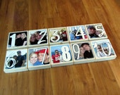 Personalized TABLE Numbers-set of 10 LARGE one-sided Photo Blocks- any color to match your wedding decor