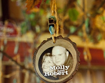 Eco Friendly Wedding PLACE CARDS- Custom Photo Ornaments made from tree branches- set of 8 with beads to match your wedding colors