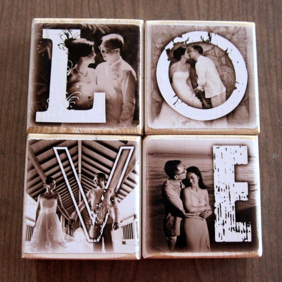 Personalized Wooden Photo Blocks- LOVE xoxo HOME Mama PAPA- set of four letter blocks