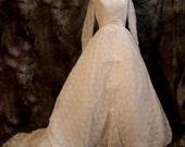 Vintage White Wedding Dress, s/m, 60s