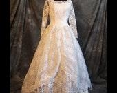 VIntage White Wedding Dress, Lace, M, L, 50s