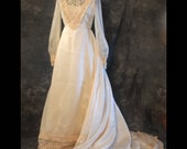 Victorian Style Vintage Wedding Dress, S, 70s