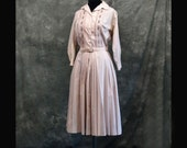 Vintage Shirtwaist Dress, 50s, 60s, Pink, S