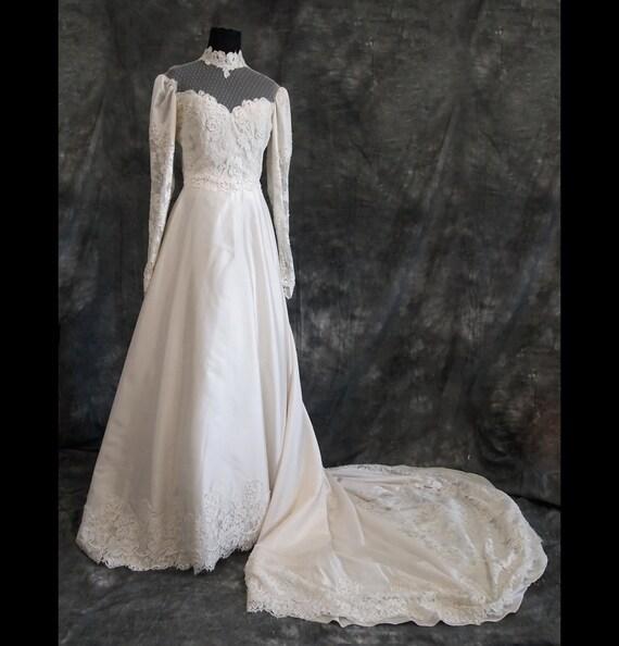 Vintage silk wedding dress victorian style 70s s for Vintage victorian wedding dresses