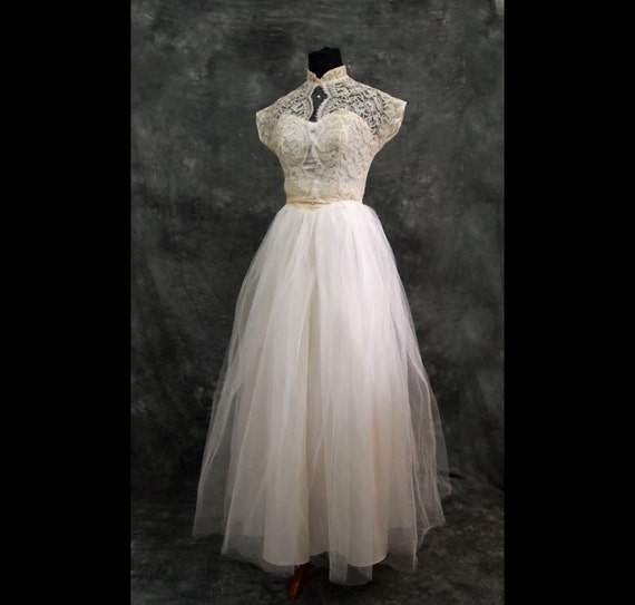 Vintage Wedding Dress Xs: Ivory Lace Vintage Wedding Dress Xs 40s
