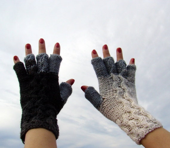 Graphite style knitted fingerless mittens by olimpa