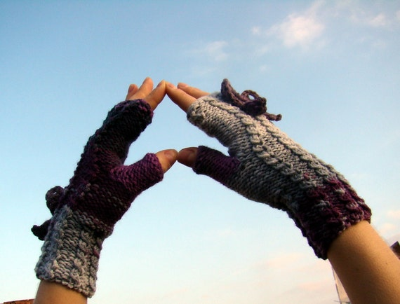 Violet, grey and black knitting mittens with butterfly by olimpa