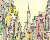 New York Sketch, Chrysler Building, New York City - print from an original watercolor sketch