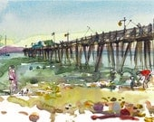 Summer beach, Capitola Beach, California - watercolor sketch in blue, green and yellow - archival print form an original watercolor