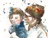 Custom Portrait in watercolors, Mothers Day Gift, 1-2 people