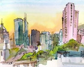 Hong Kong skyline, Morning Light, A pink, blue, yellow and orange watercolor sketch  Travel Sketch - 8x10 art print