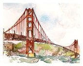 San Francisco Golden Gate Bridge, California : print of a watercolor sketch