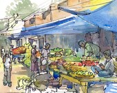 India Sketch, Farmer's Market under the blue tarps, fresh vegetables and fruit bazaar, A watercolor travel sketch - 8x10 print