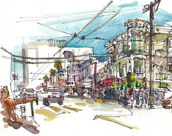 San Francisco Mission California urban watercolor sketch - 8x10 print from an original watercolor sketch