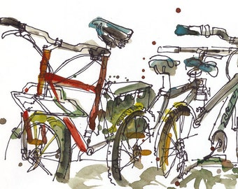 Bicycle Art Back to school, Watercolor sketch Fine Art Print from an original watercolor sketch