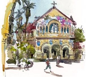 Graduation Gift  Gift for Grads Stanford Memorial Church, Palo Alto, California, a watercolor sketch - archival print