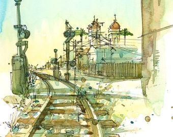 Railroad Tracks, An Urban Sketch -fine art print in ochre, teal blue, brown mustard and gold