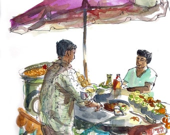 India Street Food Vendor, gift for traveler - 8x8 print from an original watercolor sketch