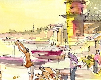 India sketch Varanasi Morning light on the River, watercolor sketch in yellow