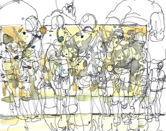 Abstract Art at the museum, New York city watercolor sketch, Jackson Pollock in yellow and grey - fine art print