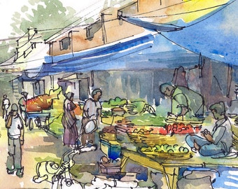 India Sketch, Farmer's Market under the blue tarps, fresh vegetables and fruit bazaar, A watercolor travel sketch - 8x10 print