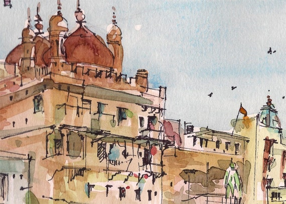 Sketch from India, Varanasi in terracotta, gift for traveler  -print from an original watercolor sketch