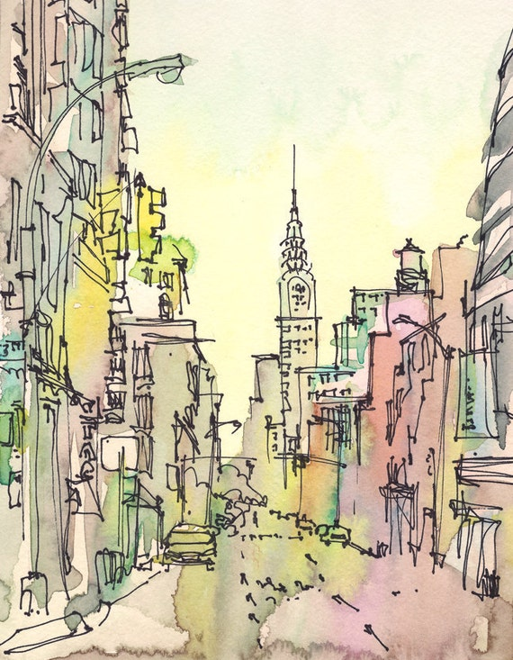 New york sketch chrysler building new york city print from for Disegni new york