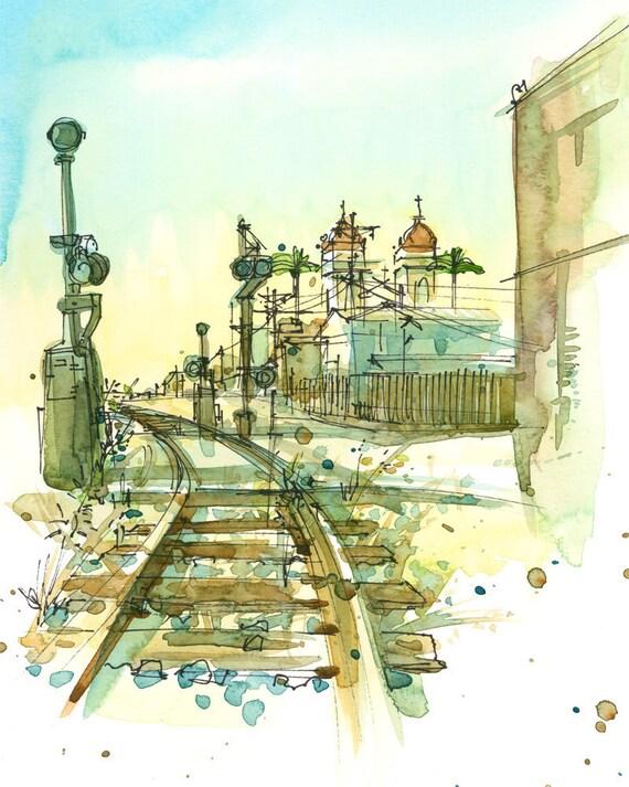 Railroad Tracks, An Urban Sketch -fine art print in ochre, teal blue, brown mustard and gold